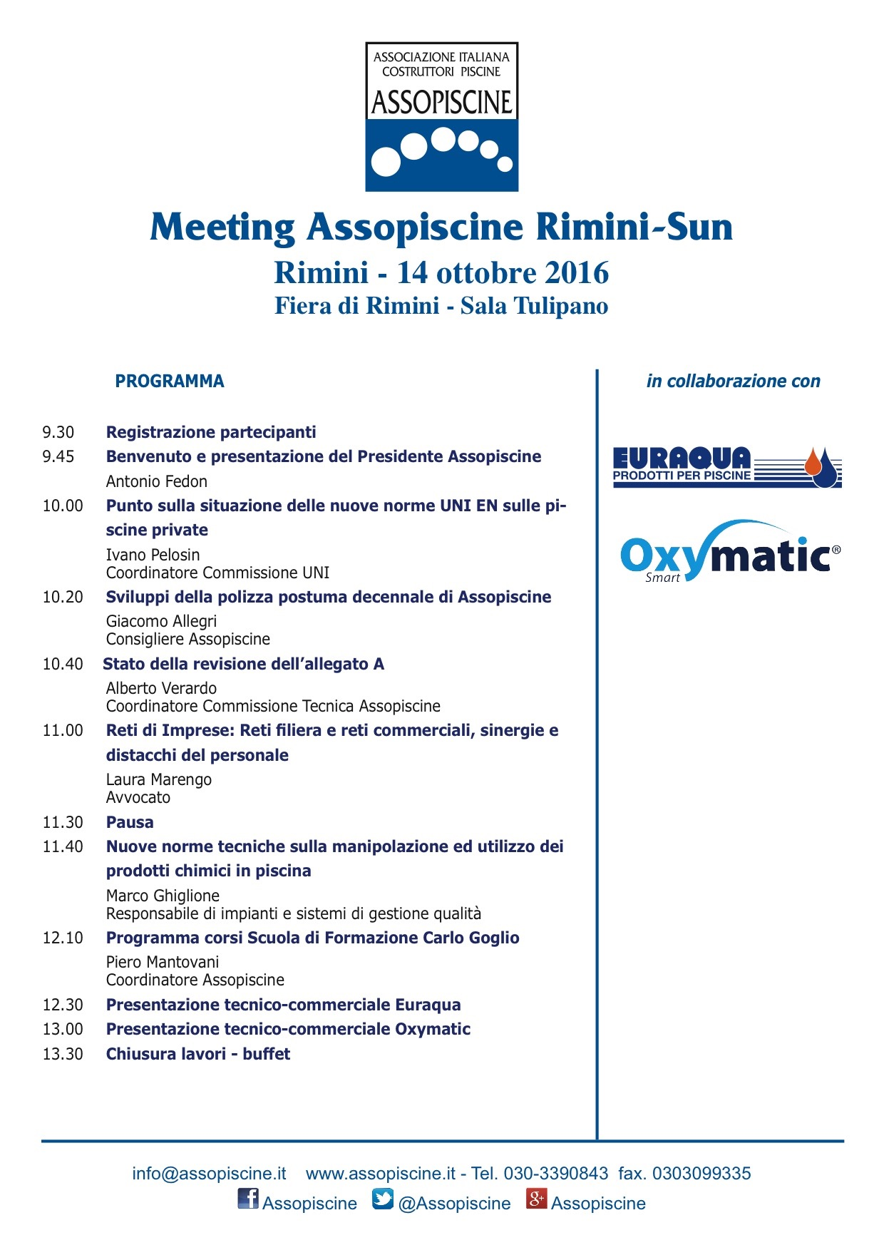 OXYMATIC MEETING ASSOPISCINE RIMINI